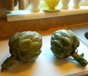 Even off season, California artichokes are large and luscious.