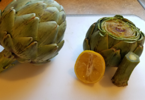 Trimmed artichoke ready to cook